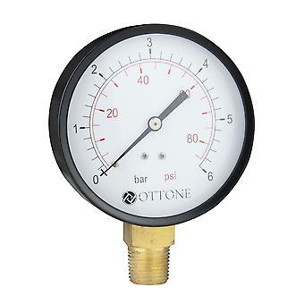 """100mm 0-10 Bar Pressure Gauge Air Oil Water Meter 1/2"""" BSPT Side Entry Manometer"""
