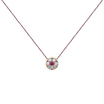 Necklace Duchess Full Diamonds on Ruby and 18K Gold, On Thread