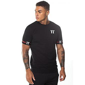 Onze degrés 11 Degrés 11d-151-001 T-shirt à manches mi-manches menottés - Noir