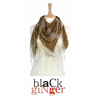 """Black Ginger"" Brown Square Leopard Print Scarf with Tassles"