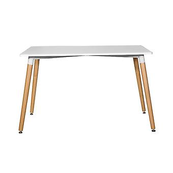 Diamant Farbe weißer Tisch, helles Holz in bemalten Mdf Plane, Holz Beine 120x80x74,5 cm
