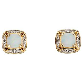 Elements Gold Opal and Diamond Earrings - Gold/Clear