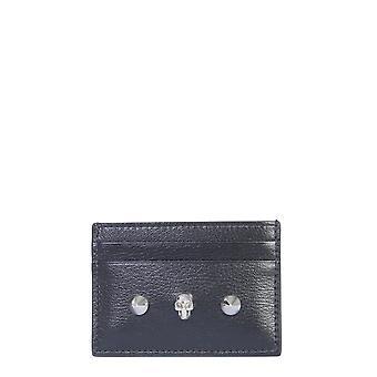 Alexander Mcqueen 6102061sm2i1050 Frauen's schwarze Leder Karte Halter