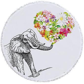 Heart of Flowers and Elephant Beach Towel