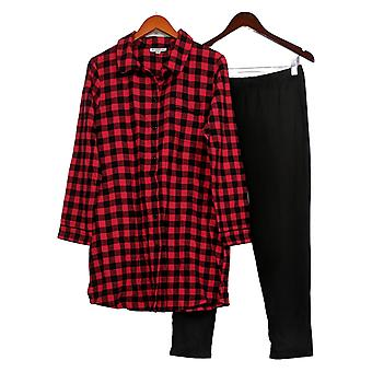 North Style Women's Long Sleeves Plaid Top w/ Pants Black