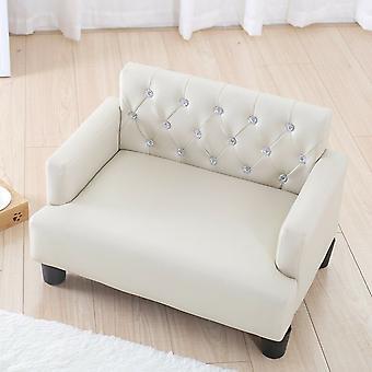 Luxe Designer Diamante Cream Chesterfield Pet Bank Bed