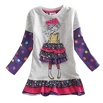 Casual Floral Embroidery Girl Motif Dress, Infant