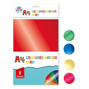 8 Sheets A4 Assorted Coloured Mirror Cardstock