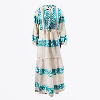 Pearl & Caviar  - Embroidered Aztec Maxi Dress - Teal/Cream