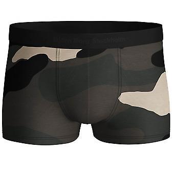 Bjorn Borg Low-Rise Camo Print Boxer Trunks, Black/Khaki