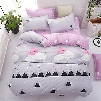 Classic Pastoral Style Printed Summer Bed Linen 4Pcs Duvet Cover Set