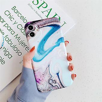 Moskado iPhone 8 tapauksessa marmori rakenne - iskunkestävä kiiltävä tapauksessa graniitti kansi CAS TPU