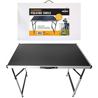 Milestone Aluminium Adjustable Height Folding Camping Table Black