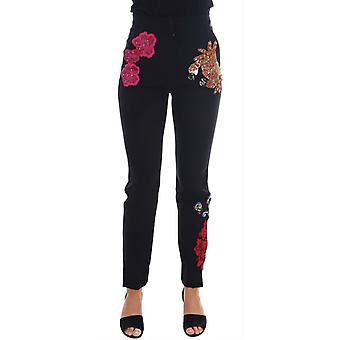 Dolce & Gabbana Siyah Yün Streç Sicilya Kristal Pantolon BYX1128-2