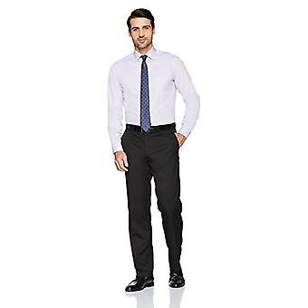 KNAPPET NED Men's Skræddersyet Fit Spread-Collar Solid Ikke-Jern Kjole Shirt (Po...