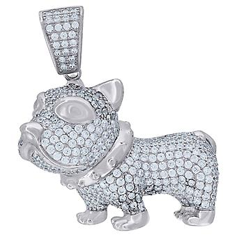 925 Sterling Silver Mens CZ Cubic Zirconia Simulated Diamond Bulldog Animal Charm Pendant Necklace Measures 33.8x30.7mm