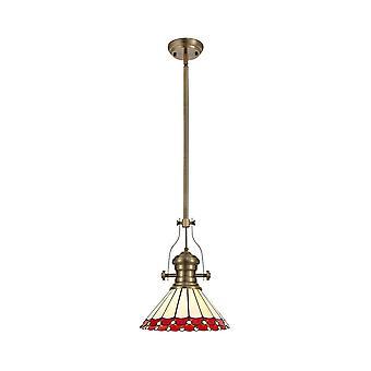 Iluminación luminosa - 1 colgante telescópico de techo ligero E27 con 30 cm de sombra Tiffany, latón antiguo, rojo, cristal