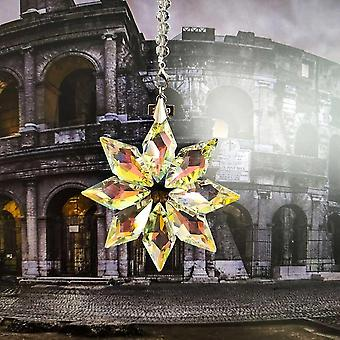 Snowflake Suncatcher For Christmas Hanging Glass Decoration Craft Pendant Prism Chandelier Crystal Parts For Car Ornament