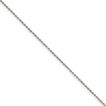 14k White Gold Lobster Claw Closure 1.2mm Solid Sparkle Cut Spiga Chain Necklace - Length: 14 to 22