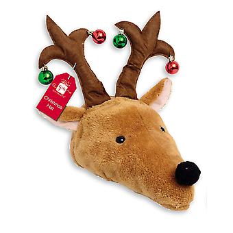 Adult Novelty Plush Christmas Reindeer Hat With Baubles