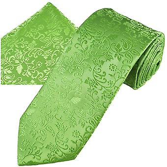 Ties Planet Gold Label Sage Green Self Leaves Patterned Men's Silk Tie & Pocket Square Handkerchief Set
