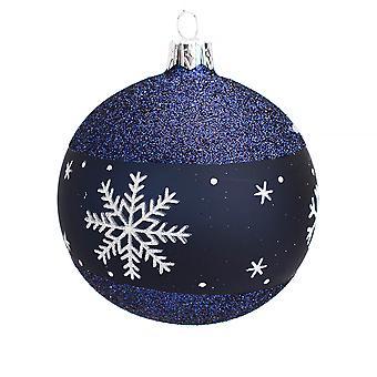 Einzelne 8cm Nacht blau Glitter Schneeflocke Grenze Glas Weihnachtsbaum Bauble
