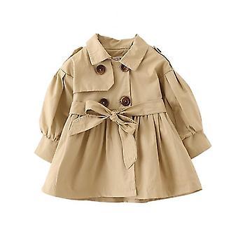 Πλήρη μανίκια, γιακά μοτίβο φόρεμα-μωρό παλτό με ζώνη
