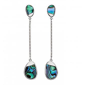 Fiorelli Silver Pebble Long Silver Abalone Earrings E5841S