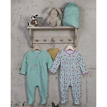 The Essential One Baby Girls Frill Floral Sleepsuits - 2 Pack