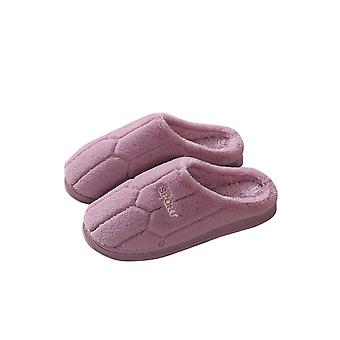 Thick  Comfortable Soft Warm Football Pattern Couple Slippers - Female