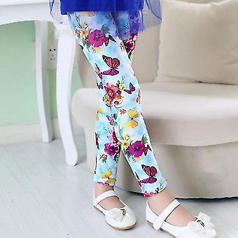 Flower Print Girls Leggings Pencil Pants For Autumn Season Set-2
