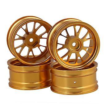 4pcs Golden Upgrade Aluminum Wheel Rims Y-Shape for RC1:10 On Road Racing Car