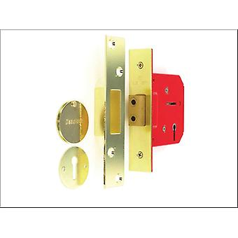 Securit Mortice Dead Lock 3 Lever Brass 63mm S1814