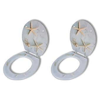 Wc-brillen met harde shell deksel 2 pc's.MDF zeesterren