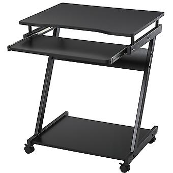 HOMCOM Movable Computer Desk with 4 Moving Wheels Sliding Keyboard Tray Home Office Workstation Black