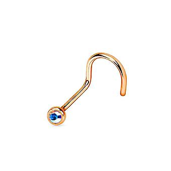 Nose screw ring rose gold ip over surgical steel 18g/20g press fit gem