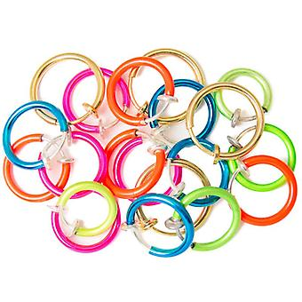 20-Pack non-piercing fake hoops anodized finish - lip, nose, cartilage & ear bj70060