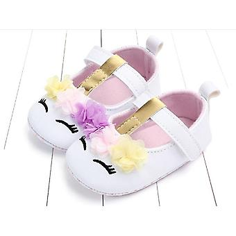 Baby Flower Unicorn Shoes Pu Leather Soft Sole Crib Shoes  Autumn First Walkers