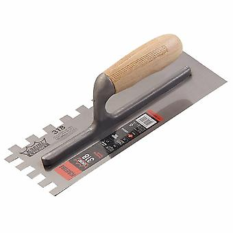 Plastering Finishing Trowel Steel Blade Wood Handle Notched Square 12x12mm