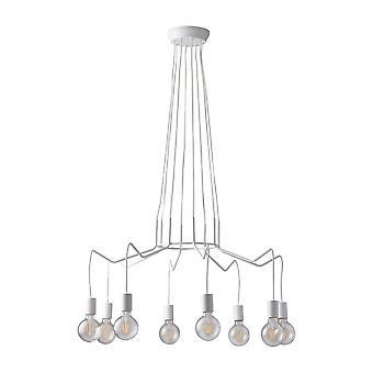 8 Licht hangdraad hanglamp, wit, E27