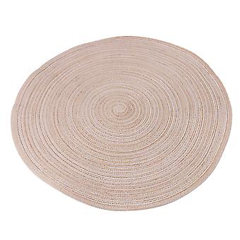 Round Placemats Heat-Resistant Stain Resistant Table Mats Dia 38cm Beige