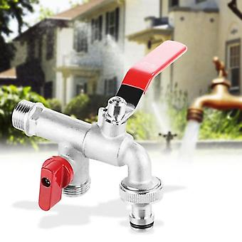 Double Valve Water Tap Brass Faucet Home Outdoor Garden Tool