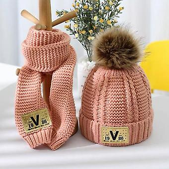 Children's Lovely Thick Style Autumn Winter Warm Knitting Wool Hat And Neck