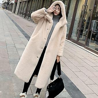 Winter Women High Quality Faux Rabbit Fur Coat Luxury Long Loose Lapel Thick