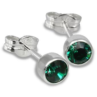Sterling Silver Cubic Zirconia Unisex Stud Earrings 2 Carat - Green