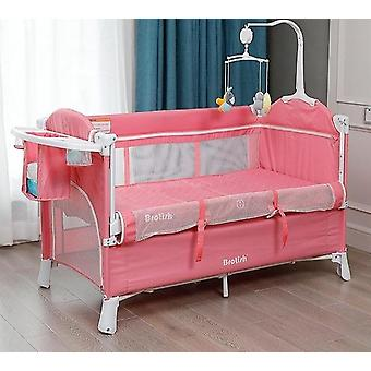 Multifunctional Crib Stitching Bed, Newborn Portable Folding Crib Easy To