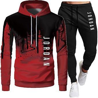 الرجال أزياء Tracksuit عارضة ملابس رياضية ملابس رياضية مقنعين سترة + بانت