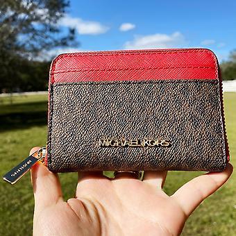 Michael kors jet set travel zip around card case wallet brown mk flame red