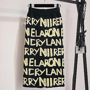 Women's Letter Knit Autumn Winter High Waist Split Straight Office Long Skirt