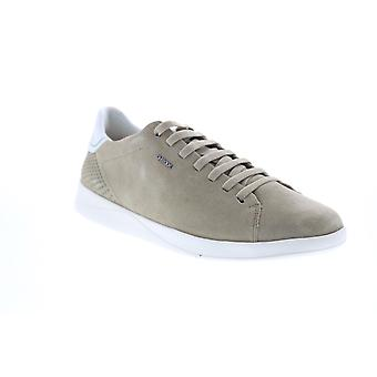 Geox U Kennet  Mens Green Suede Lace Up Euro Sneakers Shoes
